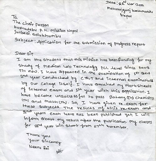 Job Application Letter Sample In Nepal